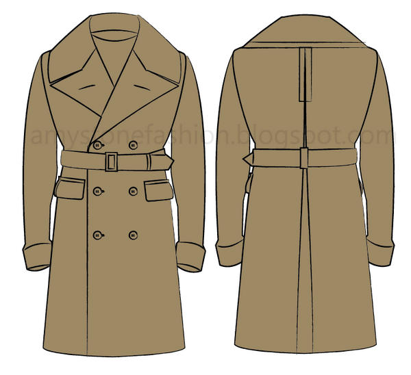 overcoat flat fashion sketch templates 0164