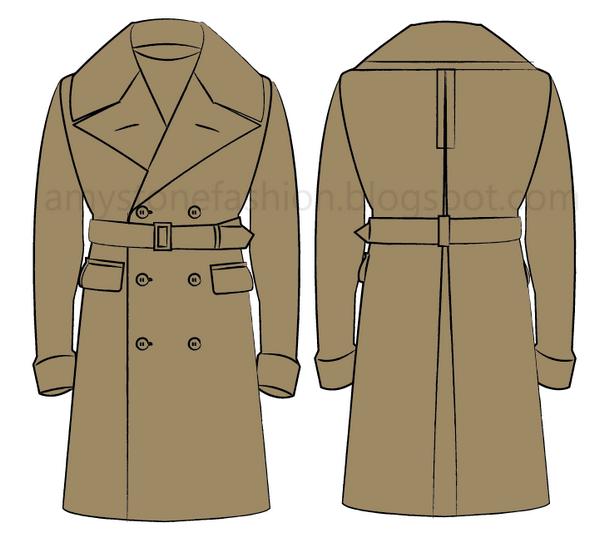 overcoat flat fashion sketch templates 0164