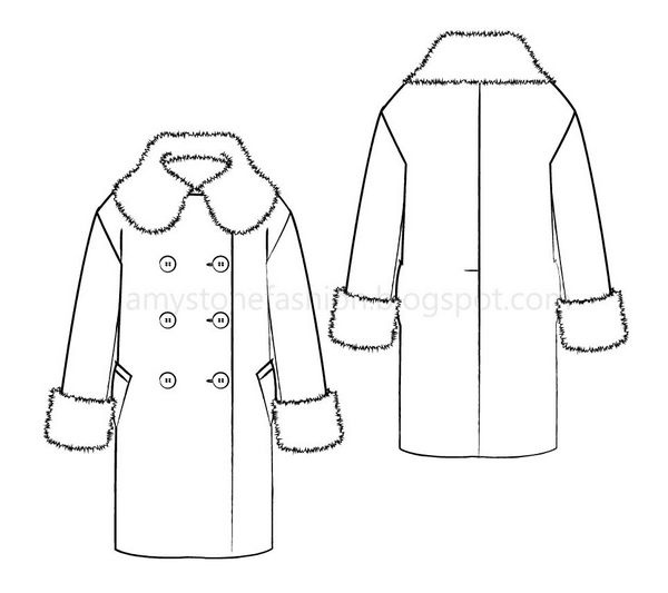 Fashion flat sketches Wide Collar Coat 0167