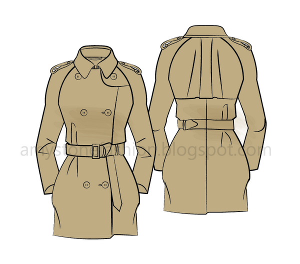trench coat fashion flats sketches 0168