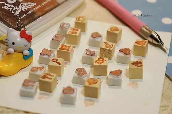 橡皮印章-9*9mm豆豆章*手帳女孩的印章