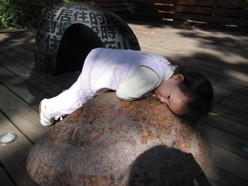 躺在石頭上日光浴