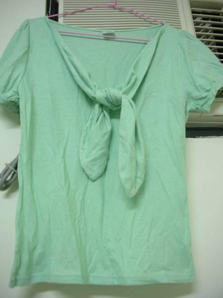 06. Cantwo果綠色領口蝴蝶結裝飾短袖上衣
