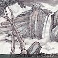 水墨-瀑布流雲