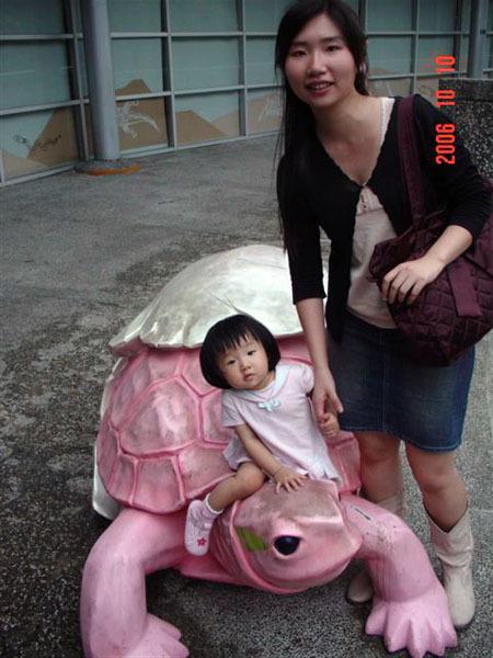 柔柔騎烏龜~動物園最多的動物看來應該是烏龜.超多的拉