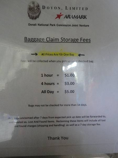 Denali Visitor Center Luggage Claim Working Time