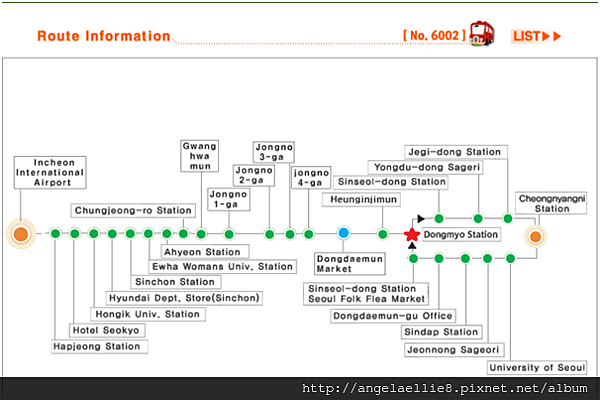 Seoul6002機場Bus route.png