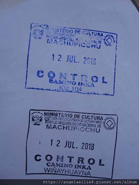 Inka Trail control stamp