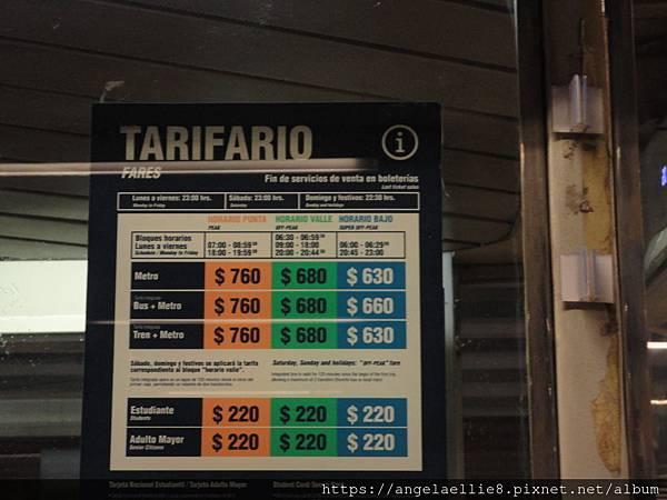 Santiago Metro ticket price