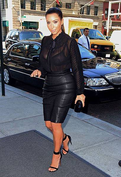 kim-kardashian-new-york-city-kardashian-collection-blouse-monika-chiang-leather-pencil-skirt-celine-sandals