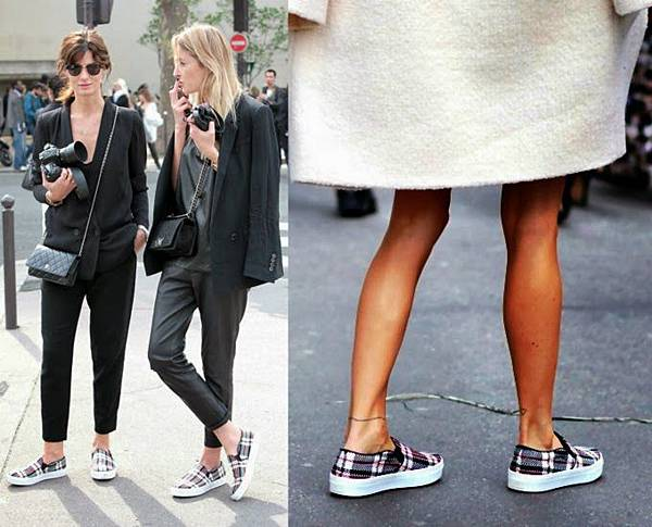 Streetstyle-Celine-plaid-slip-on