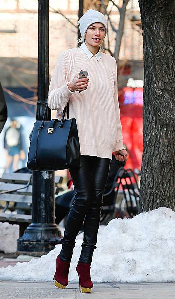 Jessica-Hart-modeled-perfect-weekend-ensemble-slick-leather-pants-oxblood-Charlotte-Olympia-booties-gray-beanie-while-strolling-around-NYC