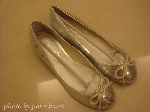 閃亮亮小性感淺口亮片芭蕾舞鞋~銀色