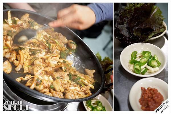 炒大腸也是包著生菜一起吃的