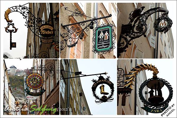 各具創意的鐵鑄招牌是格特萊第街的最大特色
