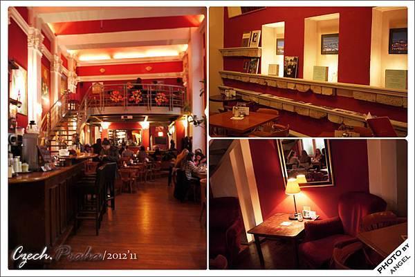 裡面的咖啡廳是截然不同的紅色風格