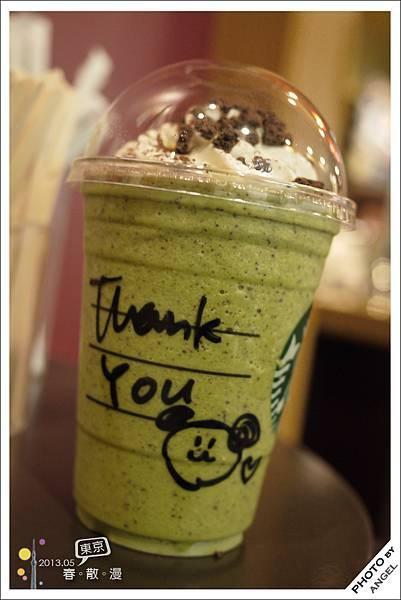 日本的星巴克現在流行在杯子上寫「Thank you」,在上野買的還會加上貓熊