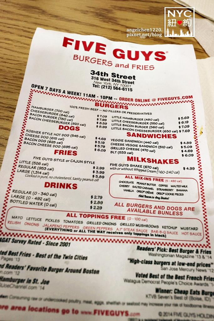 5 guys menu