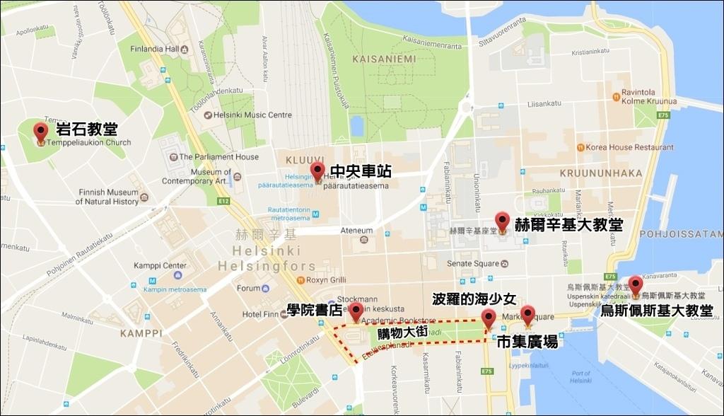 赫爾辛基景點地圖