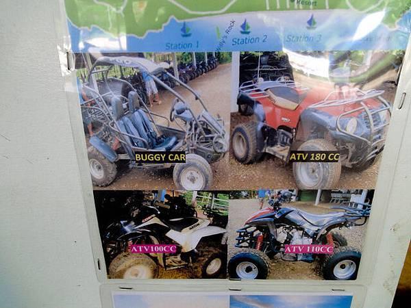 有這幾種車款! 單人的叫ATV,雙人的叫Buggy Car