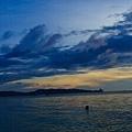 沙灘+夕陽