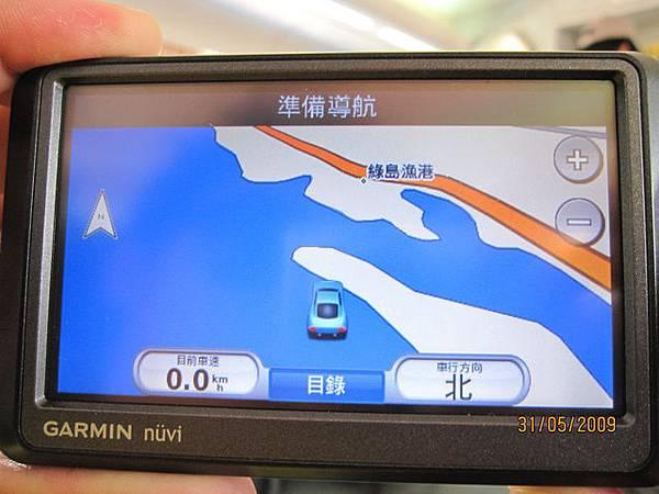 導航上顯示~在海上~哈哈!好酷!