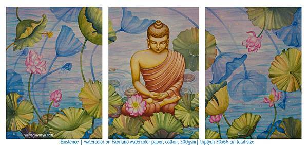 watercolor-buddha-lotus-flowers-triptych-painting-yuliyaglavnaya