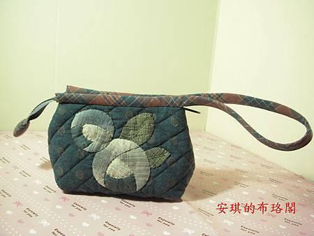 藍玫瑰雙層手拿包