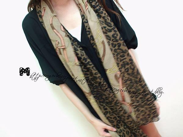 法式質感豹紋鎖鏈圍巾/披肩