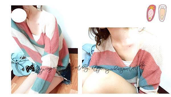 QQ軟毛撞色條紋針織上衣/2色