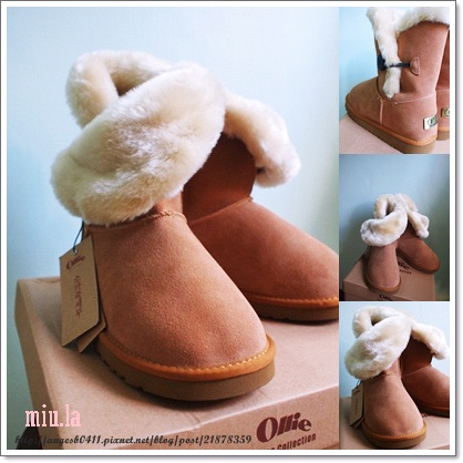 OLLIE 大圓釦雪靴(焦糖色)
