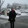 在岐阜縣高山市的早上(出發前在飯店門口)