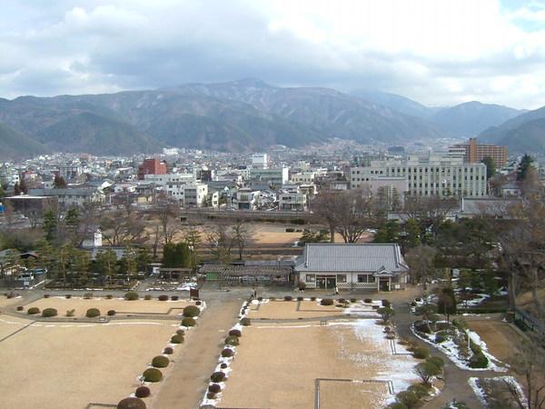 在長野信州松本城樓上眺望松本市