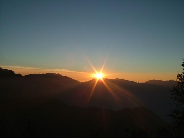 夫妻樹看夕陽
