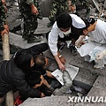 北川中學受傷者。新華社 陳燮攝