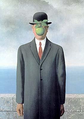 超現實主義大師雷尼馬格利特的戴圓頂黑呢帽的紳士