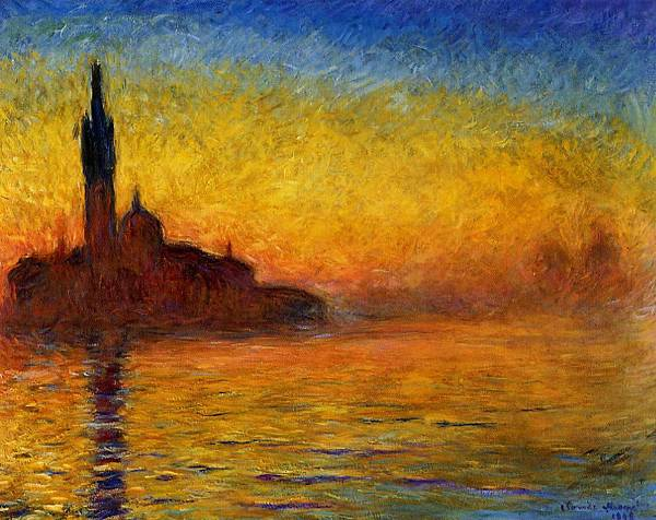 印象派莫內的威尼斯日落