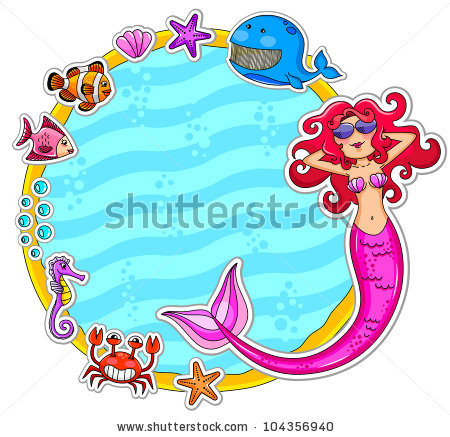 stock-vector-frame-with-sea-creatures-and-a-mermaid-wearing-sunglasses-104356940