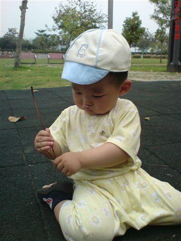 這個鄉巴佬寶寶~在玩地上的樹根