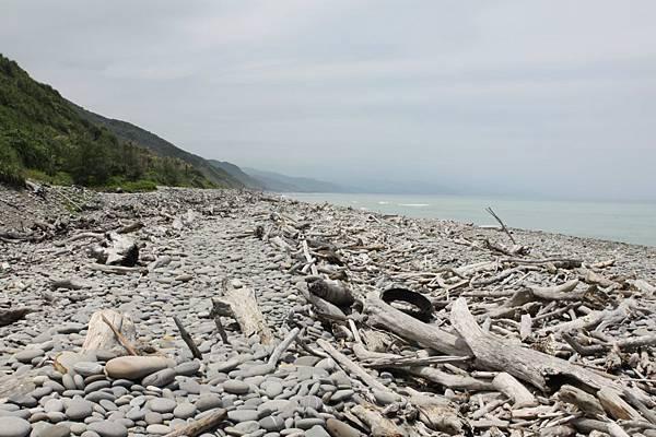漂流木與鵝卵石