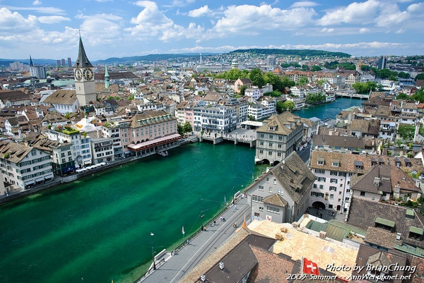 View of Zürich from Grossmünster