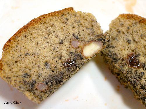 黑芝麻核桃小蛋糕切開照