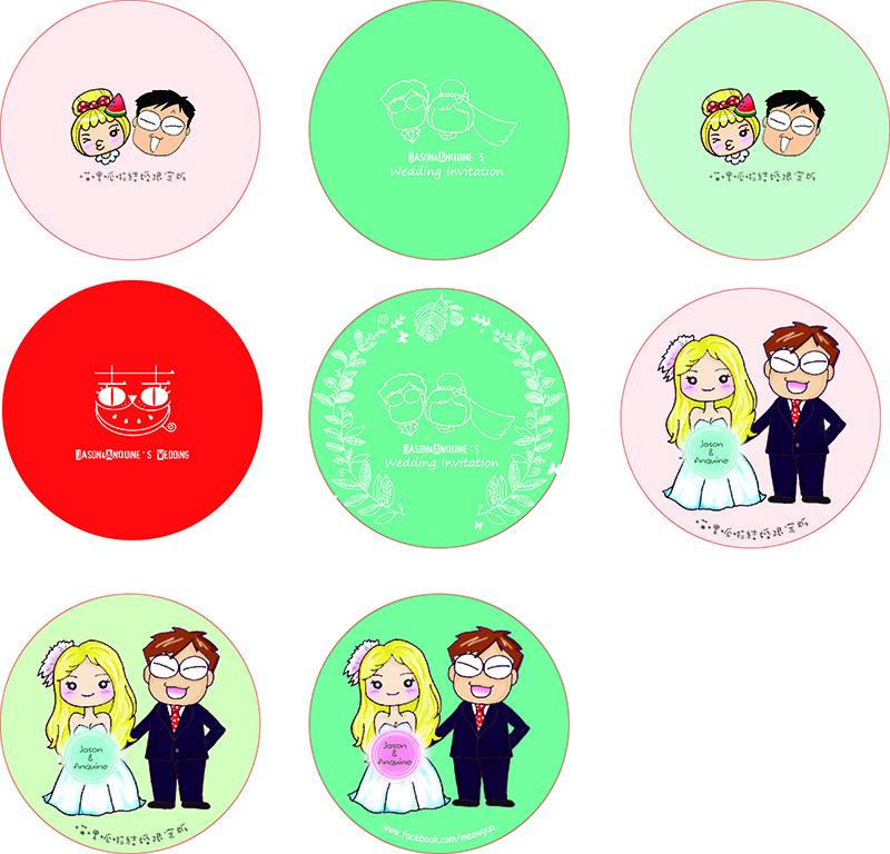 廖西瓜@婚禮婚紗手繪塗鴉之婚禮小物陶瓷吸水杯墊3.jpg