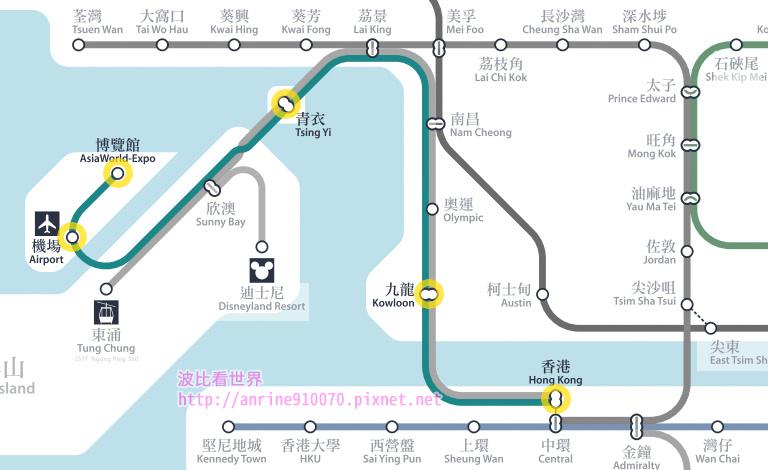 香港機場快線路線圖
