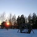 雪地的夕陽