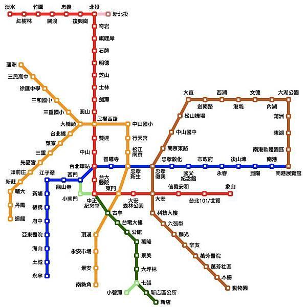 台北捷運路線圖、票價查詢(網頁版,含信義線)