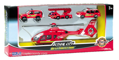 rt38932f eurocopter ec-135 city fire helicopter set with 3 vehicles