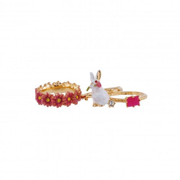 bague-3-anneaux-lapin-verre-taille-et-couronne-de-fleurs