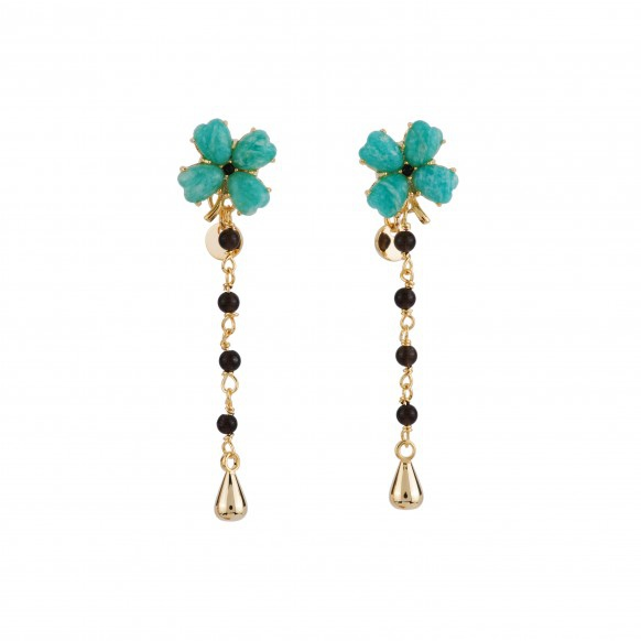 four-leaf-clover-and-beaded-chain-earrings