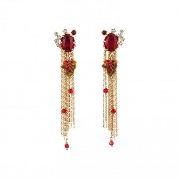 red-faceted-glass-crystals-and-cascade-of-chains-earrings